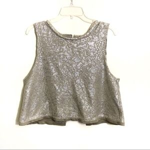 Free People Casual fancy metallic Tank split back